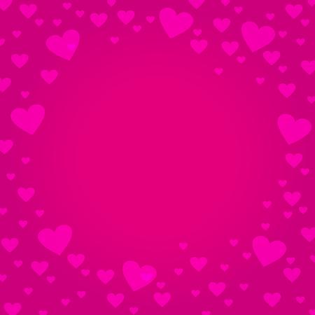 frontera del marco en forma de corazón de color rosa sobre fondo de color rosa oscuro, diseño para el día de San Valentín, Día de la Madre, tarjeta de amor y de la boda