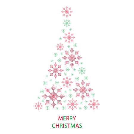 Christmas tree shaped from green and red snowflakes on white background with text graphics Merry Christmas greeting card
