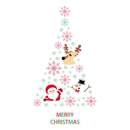 Christmas tree shaped from snowflakes, santa claus, reindeer and snowman on white background with text graphics Merry Christmas greeting card