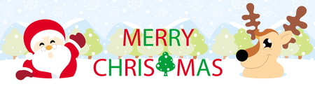 Santa claus and reindeer on snow with snowy hills and text graphics Merry Christmas banner