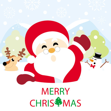 Santa claus, reindeer and snowman on snow with snowy hills and text graphics Merry Christmas greeting card Ilustração