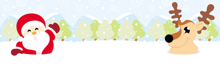 Santa claus and reindeer on snow with snowy hills forests and snowflake christmas background Ilustração