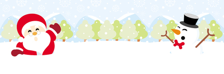 Santa claus and snowman on snow with snowy hills forests and snowflake christmas background