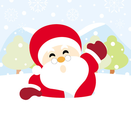 Santa claus on snow with snowy hills forests and snowflake of christmas Ilustração