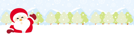 Santa claus on snow with snowy hills forests and snowflake christmas background 向量圖像
