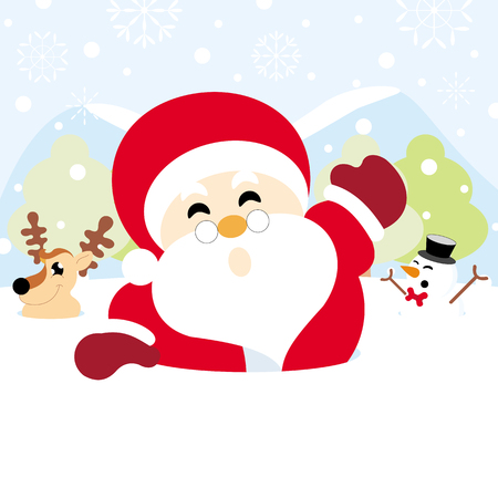 Santa claus, reindeer and snowman on snow with snowy hills forests and snowflake christmas background