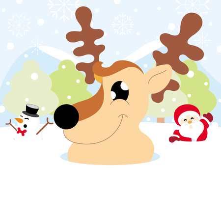 Santa claus, reindeer and snowman on snow with snowy hills forests and snowflake of christmas 向量圖像