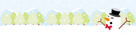 Snowman on snow with snowy hills forests and snowflake christmas background Ilustração