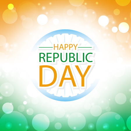 happy republic day india greeting card with abstract color of flag at background