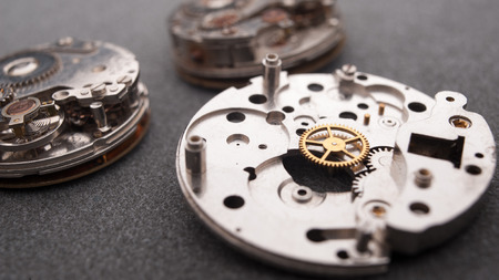 disassembly: Detail of watch machinery on the table.