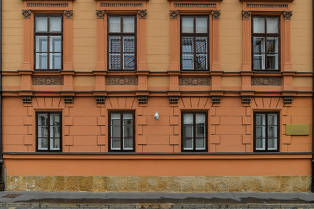 A shot of the front facade of Exbury House. Stock Photo
