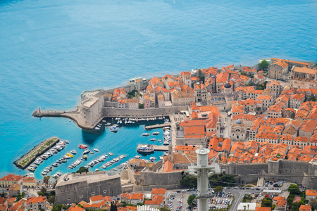 Sunny day aerial view of Old Town Dubrovnik, Croatia