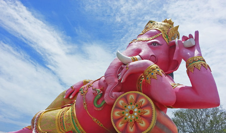 chachoengsao: Pink Ganesha statue at Wat Saman, Chachoengsao, Thailand