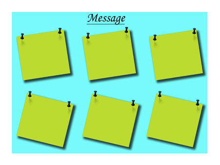 pinned: Blank note pinned on green message board Stock Photo