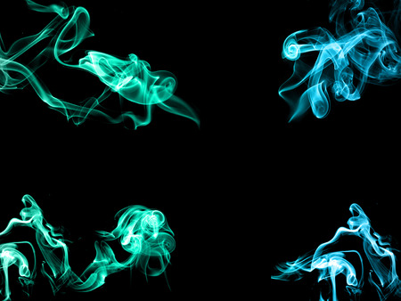 gree: Abstract blue and gree color of smoke on black background Stock Photo