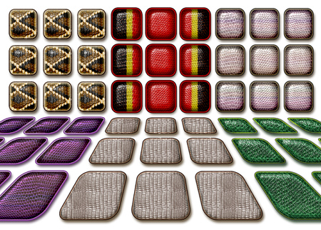 reptile skin: Perspective reptile skin square buttons on white background Stock Photo