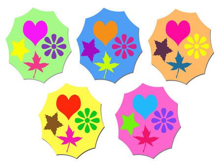 colorful heart: Abstract colorful heart flower leaf and star on white background
