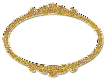 baroque picture frame: Golden round frame isolated on white background Stock Photo