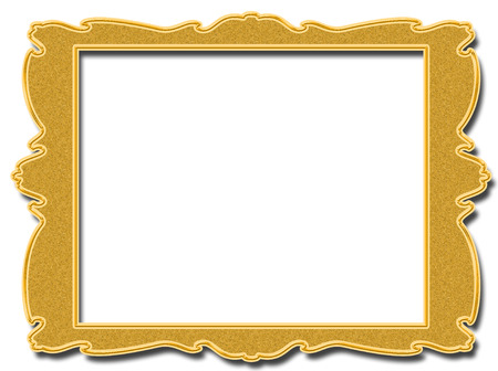 baroque picture frame: Golden vintage square frame isolated on white background