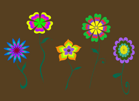 brown pattern: Abstract multi-colored flowers background