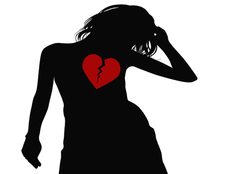 black woman: black silhouette of broken hearted woman on white background Stock Photo