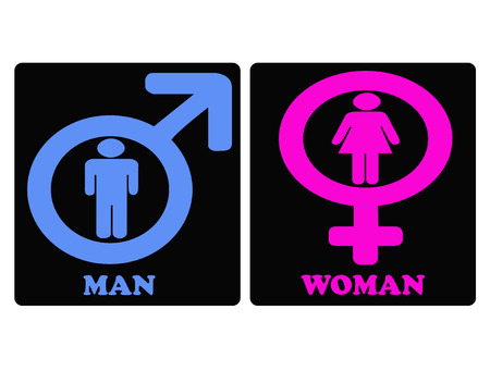 blue man: Pictrogram blue man and pink woman sign icons on black background