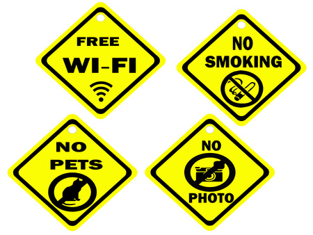 Set of public signs hanging tag
