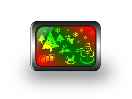 glass button: Christmas glass button Stock Photo