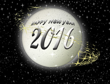 end of the world: Happy New Year 2016 metallic planet background