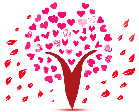 pink tree: Small love heart flowers on pink tree