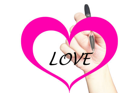 writting: Hand writting love message in the middle of heart Stock Photo