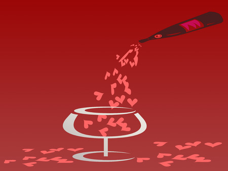 poured: Poured red heart from the bottle in to the glass on red background Stock Photo