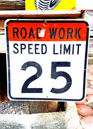 highway: Road work and speed limit sign for decoration