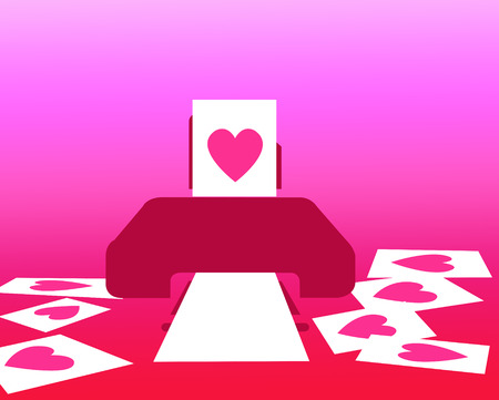 printed: Printed pink heart paper out of printer Stock Photo