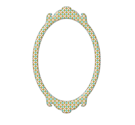 mirror frame: Vintage mirror frame with rectangle shape and retro pattern isolated on white background Stock Photo
