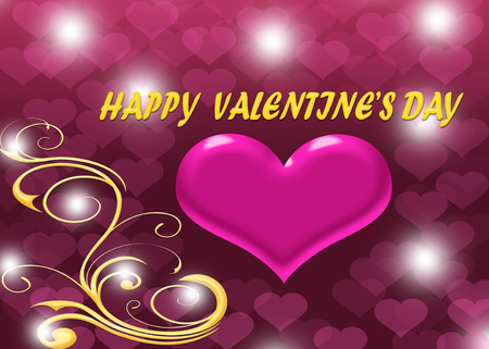 flora: Happy Valentines day with pink heart and text decorated with flora background