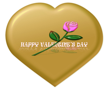 golden heart: Happy Valentines day with pink rose on golden heart background