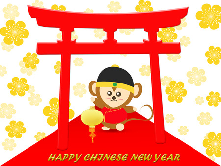flower lamp: Happy Chinese New Year day with monkey holding lamp on red carpet and flower background