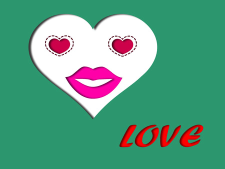 soulmate: Love face concept with heart eyes and red lips on heart face decorated love message on green background Stock Photo