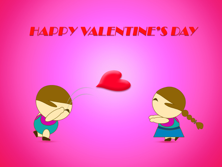 dearest: Love concept with boy throwing heart to girl for Valentines day background Stock Photo