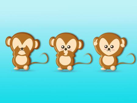 Cute three wise monkeys cartoon background, See No Evil, Hear No Evil, Speak No Evil Stock Photo