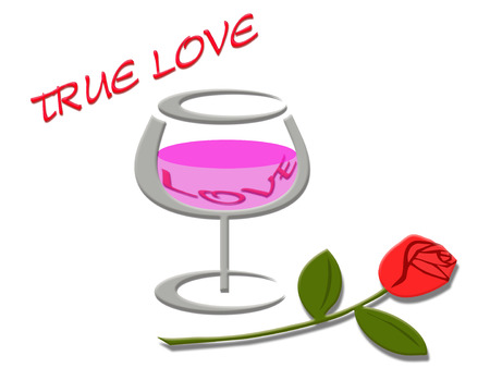 true love: Love word in wine glass and rose flower with true love message background