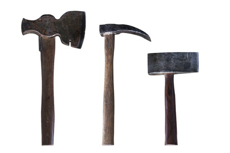 Old rusty ax with a wooden handle on a white background, 3 types Different applications.