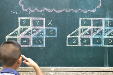 Education is very important Learning to study for life,I need the answer To make progress, Asian boys are thinking mathematically, On the board is a multiplication problem.