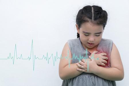 Girls wear gray shirts having chest pain - heart attack - heartbeat line