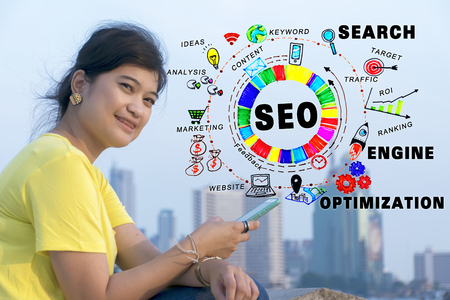 SEO Search Engine Optimization Internet Digital Concept,marketing e-commerce, online banking payment, and VOIP voice over internet protocol technology on mobile smart phone device