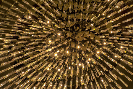 Chandeliers with glitter made from glass prism. It is a decoration that creates atmosphere. It helps to make the place more interesting. Banco de Imagens - 110297179