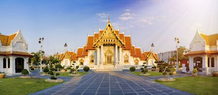 Panorama concept.Marble Temple of Bangkok,Thailand Benchamabophit Temple,famous marble temple Is a popular tourist destination of Bangkok And is an important place in Buddhism Morning atmosphere. Stok Fotoğraf