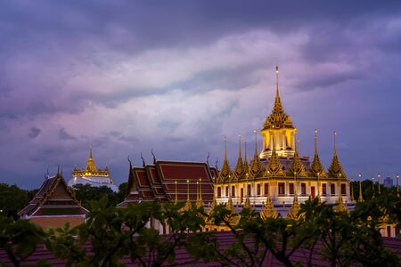 Wat Ratchanadda. It is a place that is important to Buddhism in Thailand, Popular tourist attraction of foreigners. If traveling to Bangkok. panorama view. Stok Fotoğraf