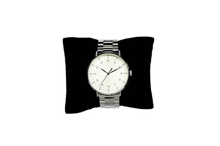 business man watch, luxury watch isolated on a white background. Wearing a small black pillow.